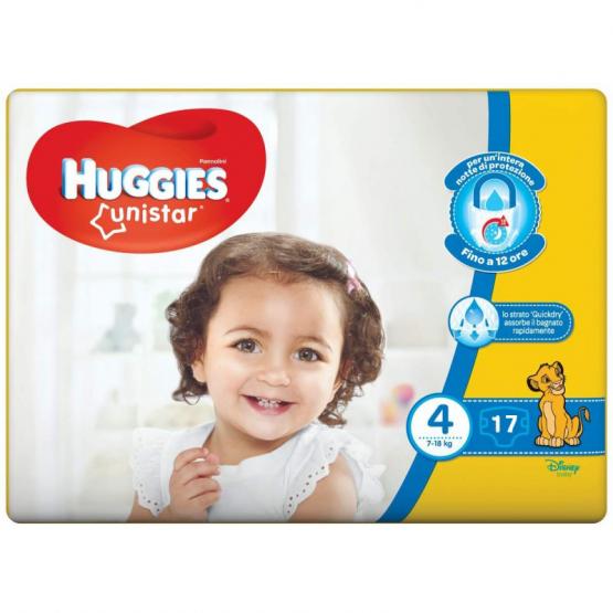 HUGGIES UNISTAR PANNOLINI TAGLIA 4 (7-18KG) 17PZ