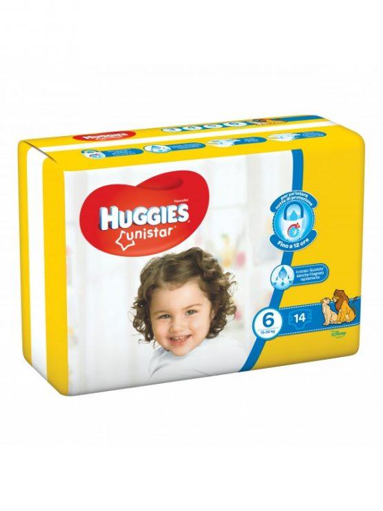 HUGGIES UNISTAR PANNOLINI TAGLIA 6 (15-30KG) 14PZ