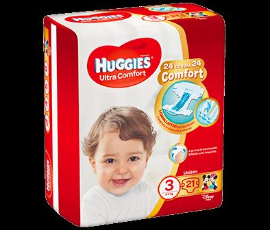 HUGGIES ULTRA COMFORT PANNOLINI TAGLIA 3 (4-9KG) 21PZ