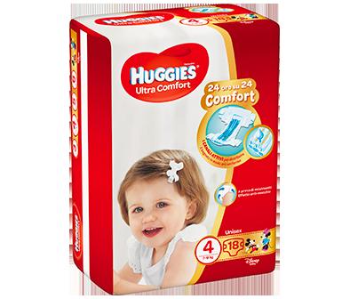 HUGGIES ULTRA COMFORT PANNOLINI TAGLIA 4 (7-18KG) 18PZ