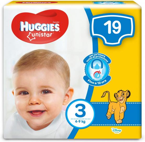 HUGGIES UNISTAR PANNOLINI TAGLIA 3 (4-9KG) 19PZ